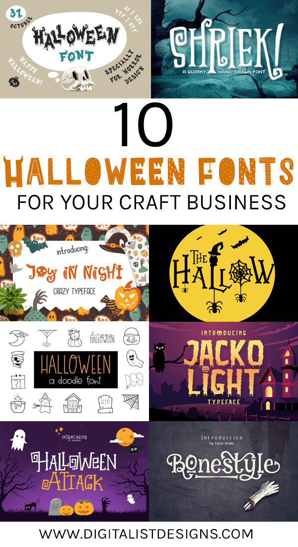 A list of 10 spooky Halloween Fonts for the holidays. These Halloween fonts would be amazing for DIY crafters and designers alike! Make your own printables or cut files with these Halloween fonts!