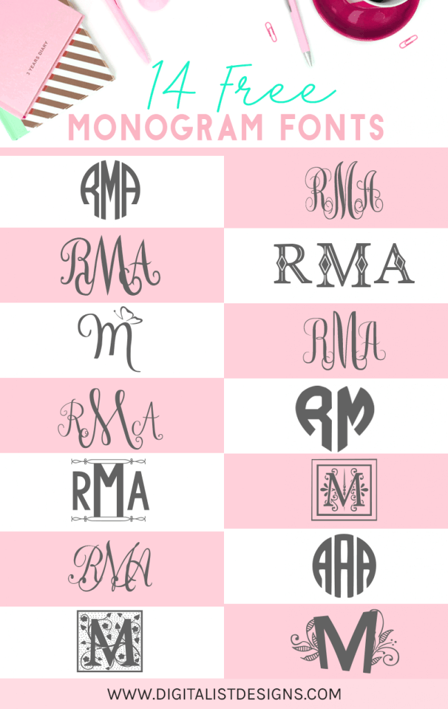 Here's my top 14 free monogram fonts. Use these fonts for personalized gifts, tumblers, clothing, weddings, and more! There's a variety of fonts such as circle monograms and interlocking script monograms. These monogram fonts are free for personal use.