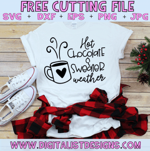 Free Hot Chocolate and Sweater Weather SVG file! This would be amazing for a variety of DIY Christmas craft projects such as: HTV T-shirts, mugs, home decor, scrapbooking, stickers, planners, and more! Cricut Design Space and Silhouette Studio compatible. Free vector clip art printable.