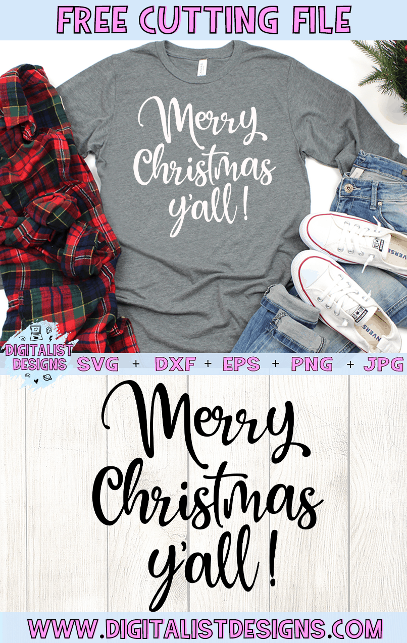 Free Merry Christmas Y'all SVG file! This would be amazing for a variety of DIY Christmas craft projects such as: HTV T-shirts, mugs, home decor, scrapbooking, stickers, planners, and more! Cricut Design Space and Silhouette Studio compatible. Free vector clip art printable.