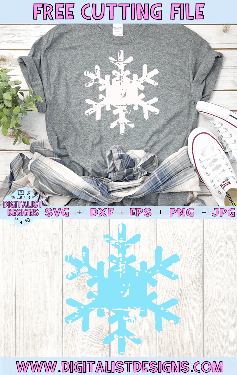 Free Grunge Snowflake SVG file! This would be amazing for a variety of DIY Christmas craft projects such as: HTV T-shirts, mugs, home decor, scrapbooking, stickers, planners, and more! Cricut Design Space and Silhouette Studio compatible. Free vector clip art printable.