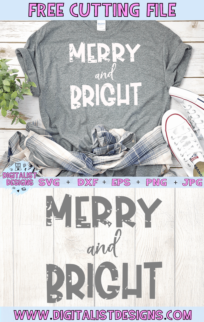 Free Grunge Merry and Bright SVG file! This would be amazing for a variety of DIY Christmas craft projects such as: HTV T-shirts, mugs, home decor, scrapbooking, stickers, planners, and more! Cricut Design Space and Silhouette Studio compatible. Free vector clip art printable.