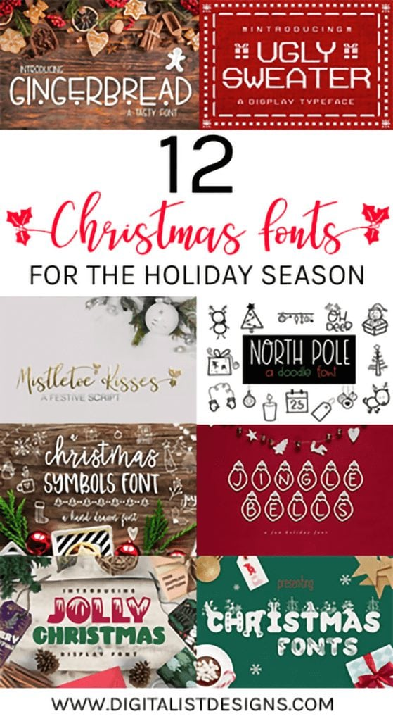A list of 12 festive Christmas Fonts for the holidays. These Christmas fonts would be amazing for DIY crafters and designers alike! Make your own printables or cut files with these Christmas fonts!