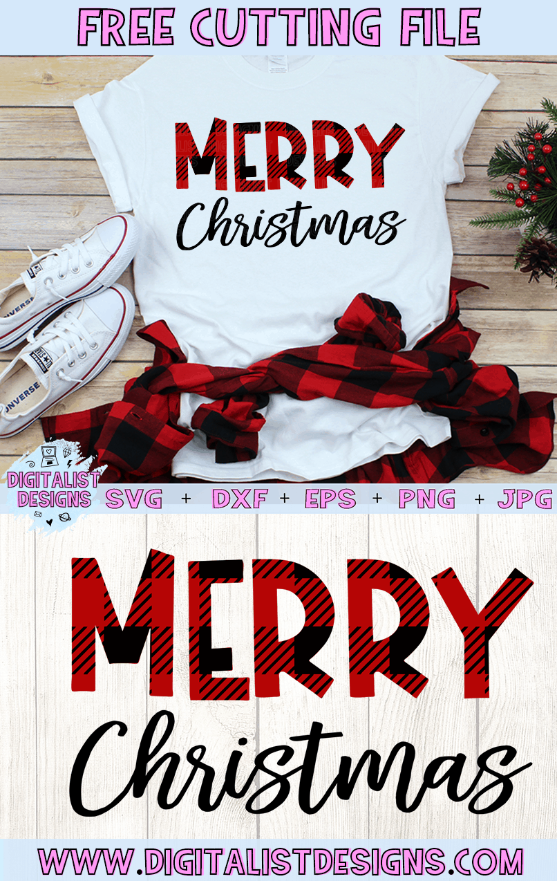 Free Buffalo Plaid Merry Christmas SVG file! This would be amazing for a variety of DIY Christmas craft projects such as: HTV T-shirts, mugs, home decor, scrapbooking, stickers, planners, and more! Cricut Design Space and Silhouette Studio compatible. Free vector clip art printable.