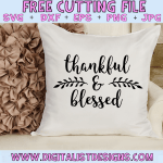 Free Thankful & Blessed SVG cut file! This would be amazing for a variety of DIY Thanksgiving craft projects such as: HTV T-shirts, mugs, home decor, scrapbooking, stickers, planners, and more! Cricut Design Space and Silhouette Studio compatible. Free vector clip art printable.