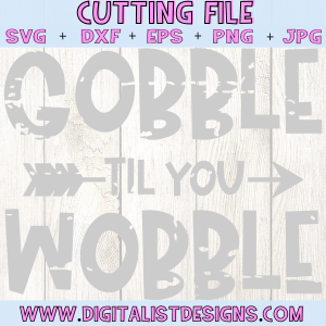 Gobble til you wobble SVG file! This would be amazing for a variety of DIY Thanksgiving craft projects such as: HTV T-shirts, mugs, home decor, scrapbooking, stickers, planners, and more! Cricut Design Space and Silhouette Studio compatible. Free vector clip art printable.
