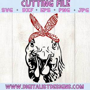Bandanna Chicken SVG file! This would be amazing for a variety of DIY Animal craft projects such as: HTV T-shirts, mugs, home decor, scrapbooking, stickers, planners, and more! Cricut Design Space and Silhouette Studio compatible. Free vector clip art printable.
