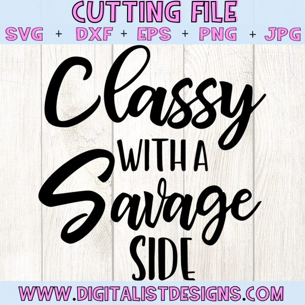 Classy With a Savage Side SVG cut file! This would be amazing for a variety of DIY Teacher craft projects such as: HTV T-shirts, mugs, home decor, scrapbooking, stickers, planners, and more! Cricut Design Space and Silhouette Studio compatible. Free vector clip art printable.