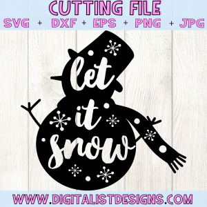 Let it snow Snowman SVG file! This would be amazing for a variety of DIY Christmas craft projects such as: HTV T-shirts, mugs, home decor, scrapbooking, stickers, planners, and more! Cricut Design Space and Silhouette Studio compatible. Free vector clip art printable.
