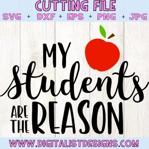 My Students are the Reason SVG file! This would be amazing for a variety of DIY Teacher craft projects such as: HTV T-shirts, mugs, home decor, scrapbooking, stickers, planners, and more! Cricut Design Space and Silhouette Studio compatible. Free vector clip art printable.