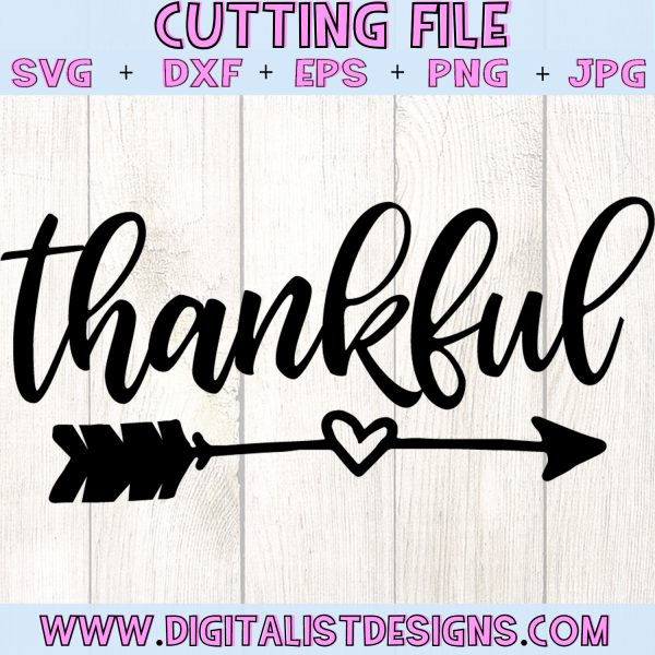 Thankful Arrow SVG file! This would be amazing for a variety of DIY Thanksgiving craft projects such as: HTV T-shirts, mugs, home decor, scrapbooking, stickers, planners, and more! Cricut Design Space and Silhouette Studio compatible. Free vector clip art printable.