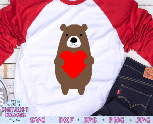 Bear Heart SVG file! This would be amazing for a variety of DIY Valentine's Day craft projects such as: HTV T-shirts, mugs, home decor, scrapbooking, stickers, planners, and more! Cricut Design Space and Silhouette Studio compatible. Free vector clip art printable.