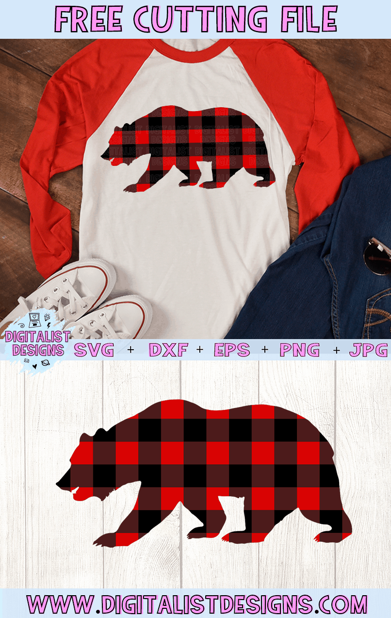 Free Buffalo Plaid Bear SVG file! This would be amazing for a variety of DIY Christmas craft projects such as: HTV T-shirts, mugs, home decor, scrapbooking, stickers, planners, and more! Cricut Design Space and Silhouette Studio compatible. Free vector clip art printable.