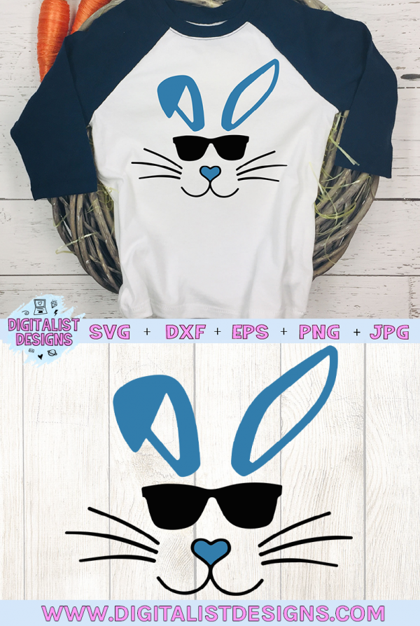 Sunglasses Bunny for Boys SVG cut file! This would be amazing for a variety of DIY Easter craft projects such as: HTV T-shirts, mugs, home decor, scrapbooking, stickers, planners, and more! Cricut Design Space and Silhouette Studio compatible. Vector clip art printable.