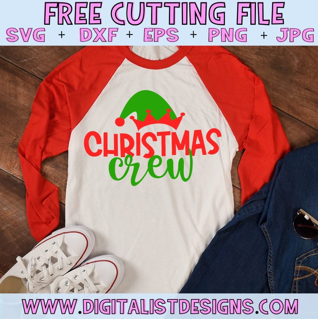 Free Christmas Crew SVG file! This would be amazing for a variety of DIY Christmas craft projects such as: HTV T-shirts, mugs, home decor, scrapbooking, stickers, planners, and more! Cricut Design Space and Silhouette Studio compatible. Free vector clip art printable.
