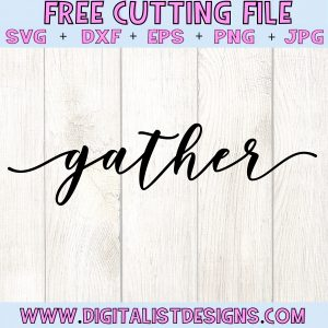 Free Gather SVG file! This would be amazing for a variety of DIY Farmhouse craft projects such as: HTV T-shirts, mugs, home decor, scrapbooking, stickers, planners, and more! Cricut Design Space and Silhouette Studio compatible. Free vector clip art printable.