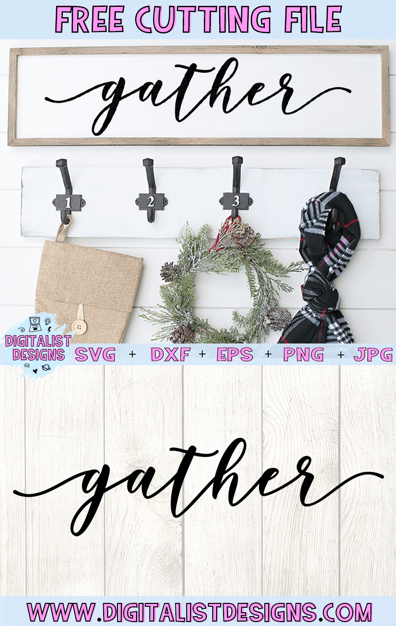 Free Gather SVG cut file! This would be amazing for a variety of DIY Thanksgiving craft projects such as: HTV T-shirts, mugs, home decor, scrapbooking, stickers, planners, and more! Cricut Design Space and Silhouette Studio compatible. Free vector clip art printable.