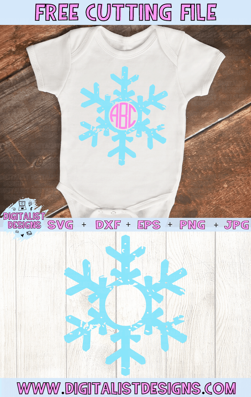 Free Grunge Snowflake Monogram SVG file! This would be amazing for a variety of DIY Christmas craft projects such as: HTV T-shirts, mugs, home decor, scrapbooking, stickers, planners, and more! Cricut Design Space and Silhouette Studio compatible. Free vector clip art printable.