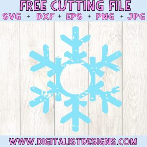 Grunge Snowflake Monogram SVG file! This would be amazing for a variety of DIY Christmas craft projects such as: HTV T-shirts, mugs, home decor, scrapbooking, stickers, planners, and more! Cricut Design Space and Silhouette Studio compatible. Free vector clip art printable.