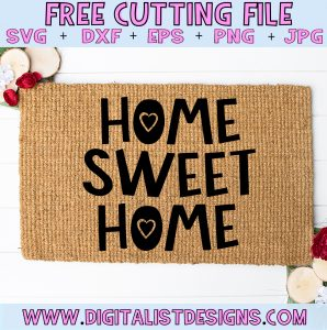 Free Home Sweet Home SVG cut file! This would be amazing for a variety of DIY Farmhouse craft projects such as: HTV T-shirts, mugs, home decor, scrapbooking, stickers, planners, and more! Cricut Design Space and Silhouette Studio compatible. Free vector clip art printable.