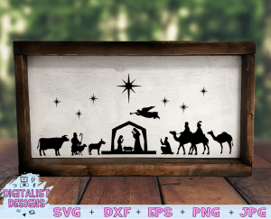 Nativity Scene SVG file! This would be amazing for a variety of DIY Christmas craft projects such as: HTV T-shirts, mugs, home decor, scrapbooking, stickers, planners, and more! Cricut Design Space and Silhouette Studio compatible. Vector clip art printable.