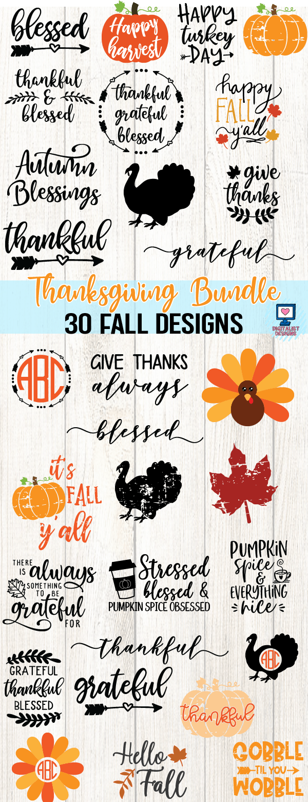 Thanksgiving SVG Bundle - 30 Designs