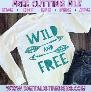 Free Wild and Free SVG cut file! This would be amazing for a variety of DIY craft projects such as: HTV T-shirts, mugs, home decor, scrapbooking, stickers, planners, and more! Cricut Design Space and Silhouette Studio compatible. Free vector clip art printable.