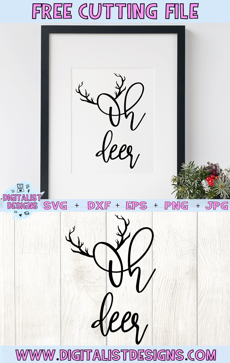 Free Oh Deer SVG file! This would be amazing for a variety of DIY Christmas craft projects such as: HTV T-shirts, mugs, home decor, scrapbooking, stickers, planners, and more! Cricut Design Space and Silhouette Studio compatible. Free vector clip art printable.