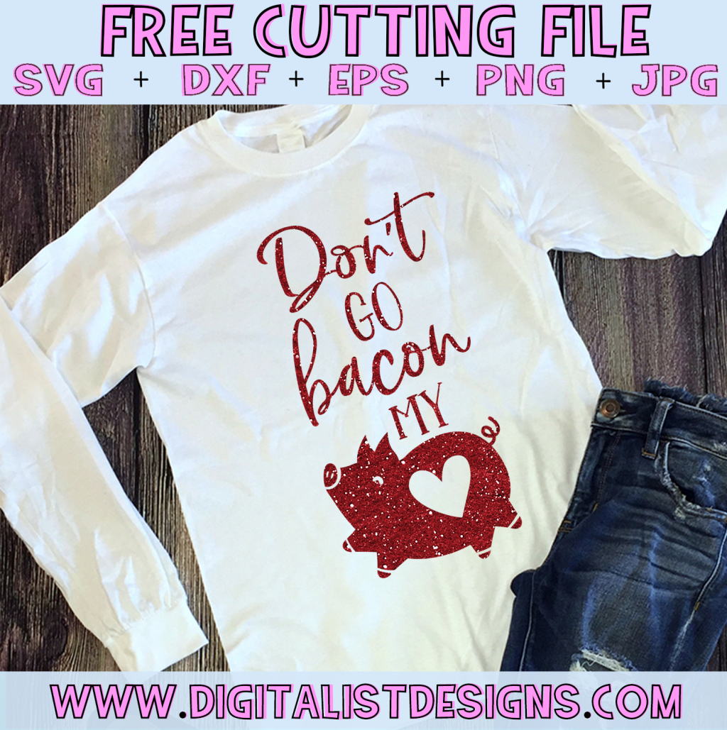 Free Don't Go Bacon my Heart SVG file! This would be amazing for a variety of DIY Valentine's Day craft projects such as: HTV T-shirts, mugs, home decor, scrapbooking, stickers, planners, and more! Cricut Design Space and Silhouette Studio compatible. Free vector clip art printable.