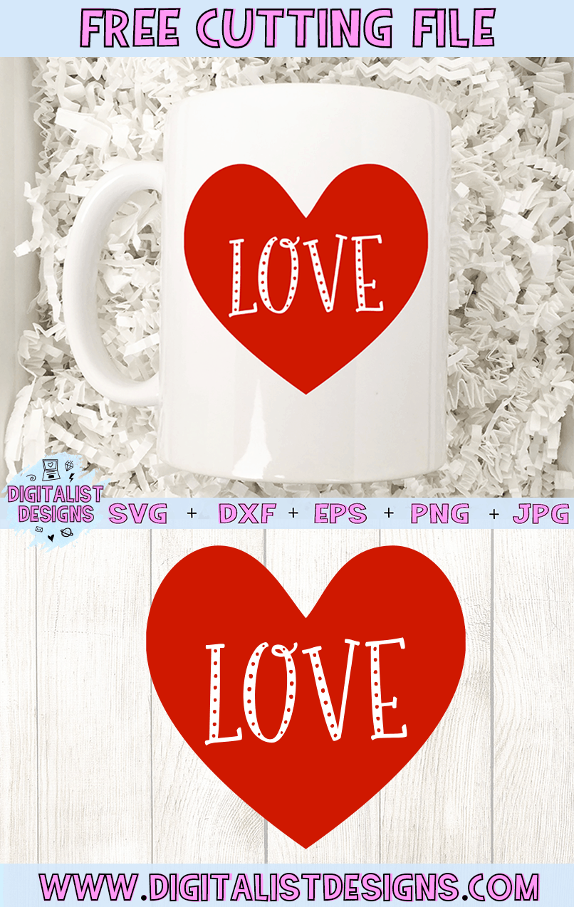 Free Love Heart SVG file! This would be amazing for a variety of DIY Valentine's Day craft projects such as: HTV T-shirts, mugs, home decor, scrapbooking, stickers, planners, and more! Cricut Design Space and Silhouette Studio compatible. Free vector clip art printable.