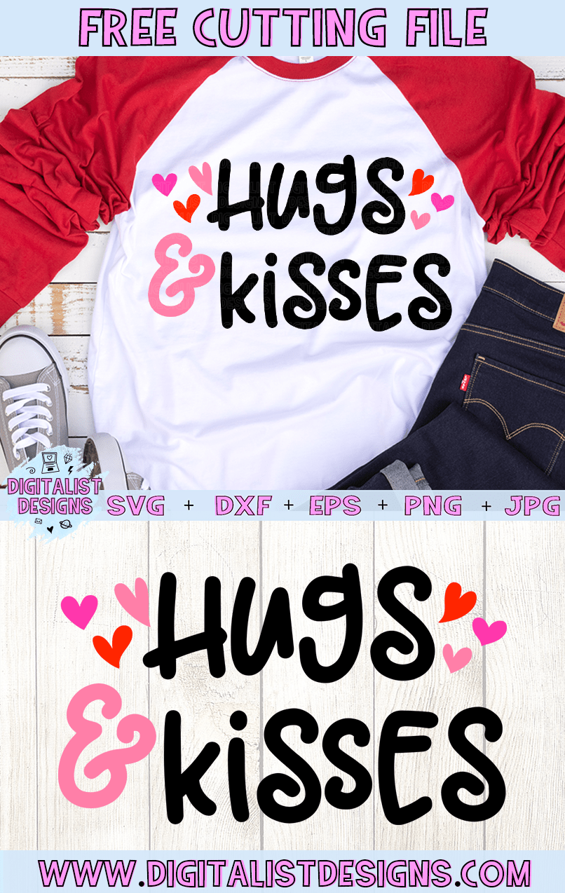 Free Hugs & Kisses SVG file! This would be amazing for a variety of DIY Valentine's Day craft projects such as: HTV T-shirts, mugs, home decor, scrapbooking, stickers, planners, and more! Cricut Design Space and Silhouette Studio compatible. Free vector clip art printable.