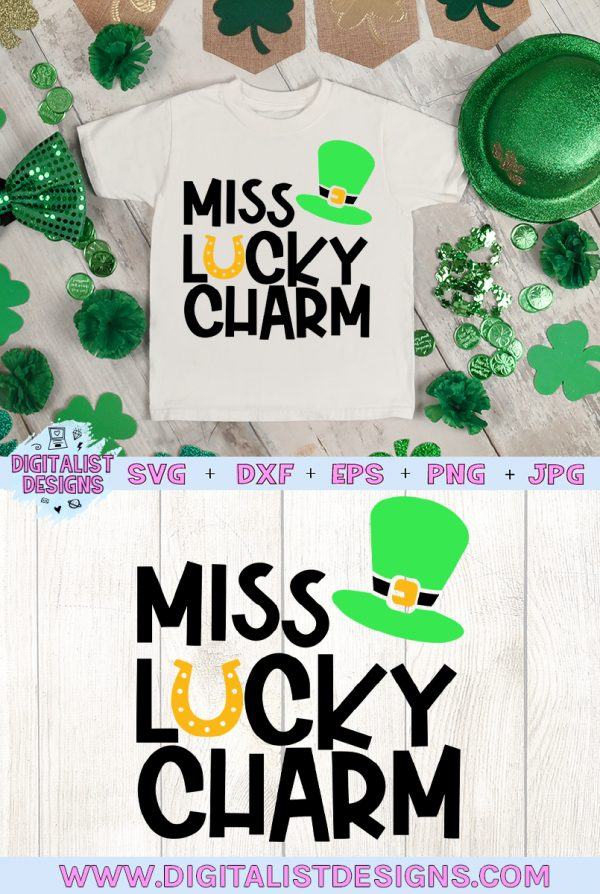 Miss Lucky Charm SVG file! This would be amazing for a variety of DIY St. Patrick's Day craft projects such as: HTV T-shirts, mugs, home decor, scrapbooking, stickers, planners, and more! Cricut Design Space and Silhouette Studio compatible. Vector clip art printable.
