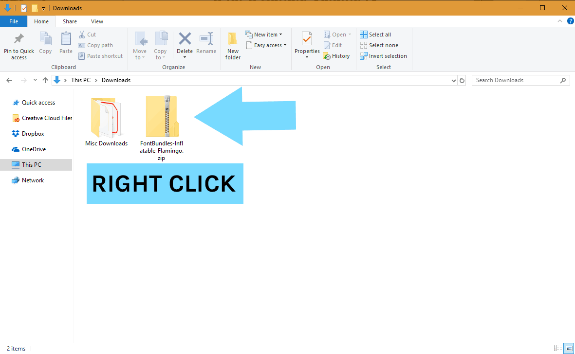 How to Install a font on Windows PC Step 2