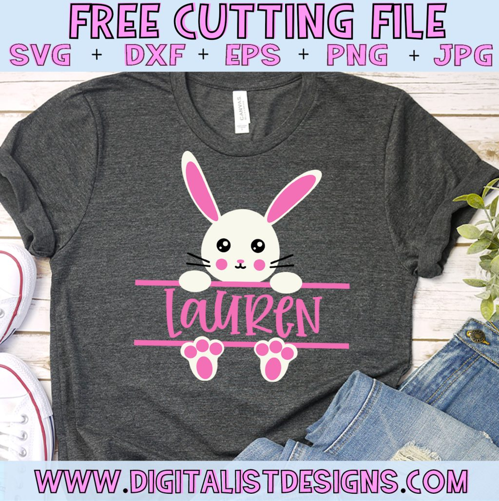 Free Split Monogram Easter Bunny SVG for Girls file! This would be amazing for a variety of DIY Easter craft projects such as: HTV T-shirts, mugs, home decor, scrapbooking, stickers, planners, and more! Cricut Design Space and Silhouette Studio compatible. Free vector clip art printable.