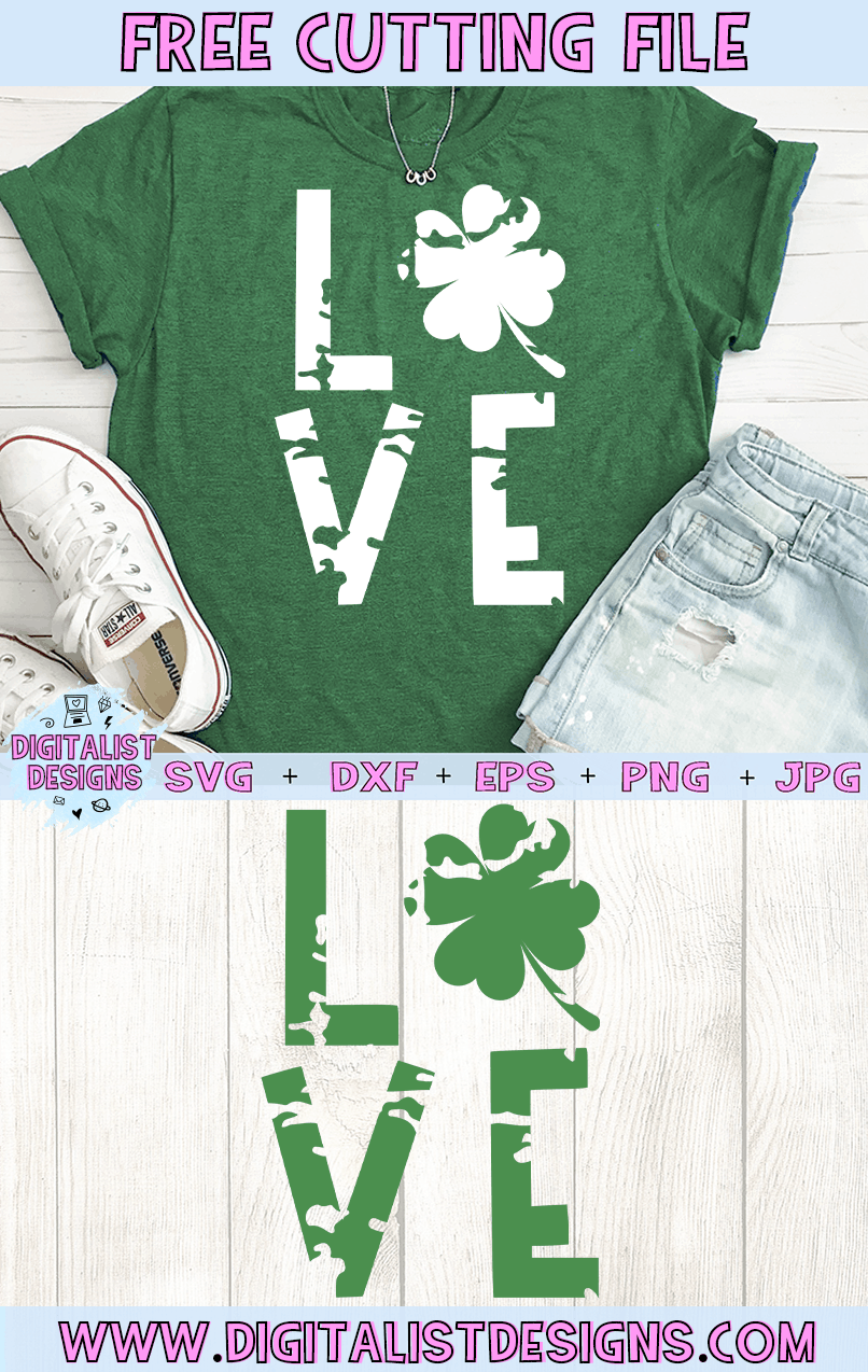 Free Love St. Patrick's Day SVG file! This would be amazing for a variety of DIY St. Patrick's Day craft projects such as: HTV T-shirts, mugs, home decor, scrapbooking, stickers, planners, and more! Cricut Design Space and Silhouette Studio compatible. Free vector clip art printable.