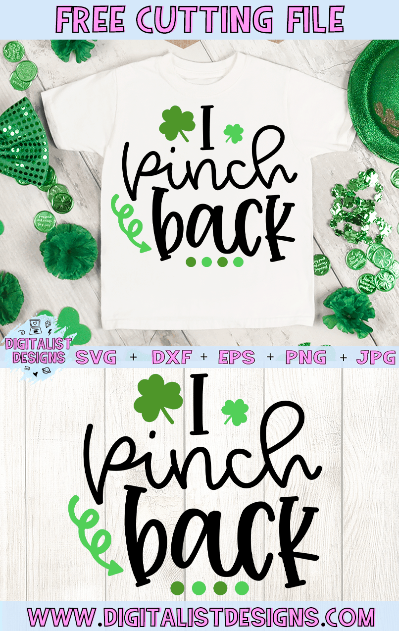 Free I Pinch Back SVG file! This would be amazing for a variety of DIY St. Patrick's Day craft projects such as: HTV T-shirts, mugs, home decor, scrapbooking, stickers, planners, and more! Cricut Design Space and Silhouette Studio compatible. Free vector clip art printable.