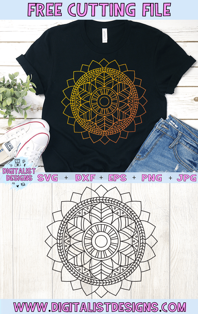 Free Mandala SVG cut file! This would be amazing for a variety of DIY craft projects such as: HTV T-shirts, mugs, home decor, scrapbooking, stickers, planners, and more! Cricut Design Space and Silhouette Studio compatible. Free vector clip art printable.