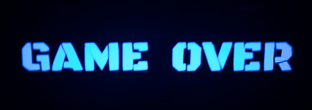 PS4 Game Over decal in the dark