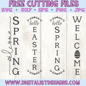 Free Spring and Easter Porch Sign SVG cut file bundle! This would be amazing for a variety of Easter DIY craft projects such as: HTV T-shirts, mugs, home decor, scrapbooking, stickers, planners, and more! Cricut Design Space and Silhouette Studio compatible. Free vector clip art printable.