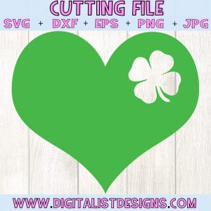 Shamrock Heart SVG file! This would be amazing for a variety of DIY St. Patrick's Day craft projects such as: HTV T-shirts, mugs, home decor, scrapbooking, stickers, planners, and more! Cricut Design Space and Silhouette Studio compatible. Vector clip art printable.