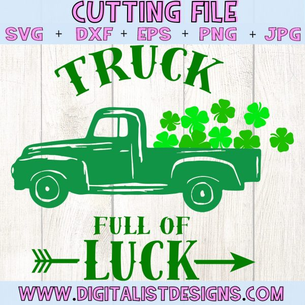 Truck Full of Luck SVG file! This would be amazing for a variety of DIY St. Patrick's Day craft projects such as: HTV T-shirts, mugs, home decor, scrapbooking, stickers, planners, and more! Cricut Design Space and Silhouette Studio compatible. Vector clip art printable.