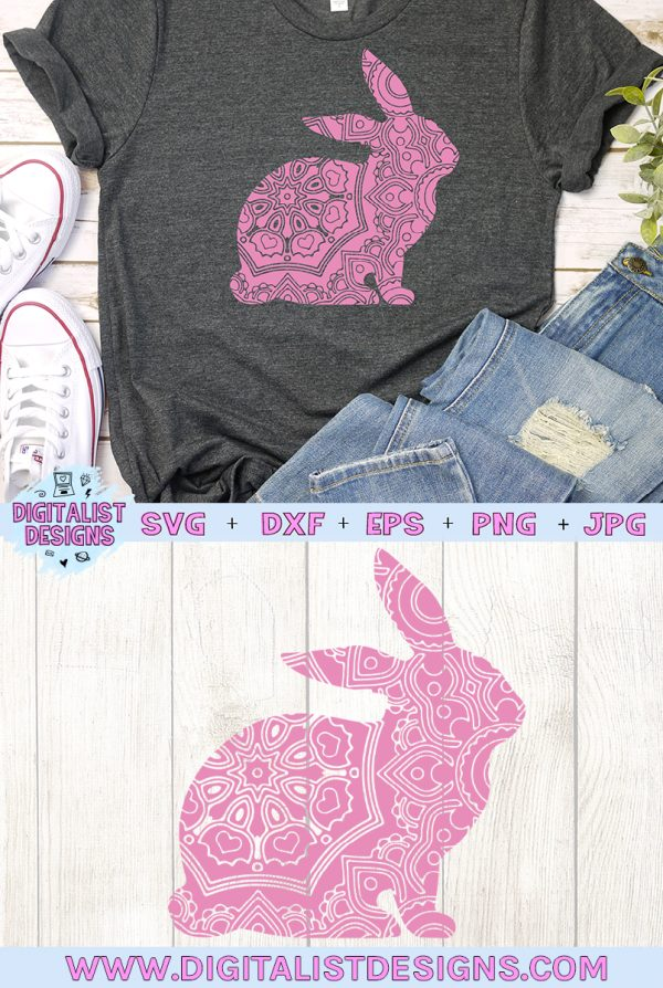 Mandala Bunny SVG cut file! This would be amazing for a variety of DIY Easter craft projects such as: HTV T-shirts, mugs, home decor, scrapbooking, stickers, planners, and more! Cricut Design Space and Silhouette Studio compatible. Vector clip art printable.