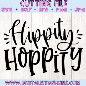 Hippity Hoppity SVG cut file! This would be amazing for a variety of DIY Easter craft projects such as: HTV T-shirts, mugs, home decor, scrapbooking, stickers, planners, and more! Cricut Design Space and Silhouette Studio compatible. Vector clip art printable.