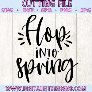 Hop into Spring SVG cut file! This would be amazing for a variety of DIY Easter craft projects such as: HTV T-shirts, mugs, home decor, scrapbooking, stickers, planners, and more! Cricut Design Space and Silhouette Studio compatible. Vector clip art printable.