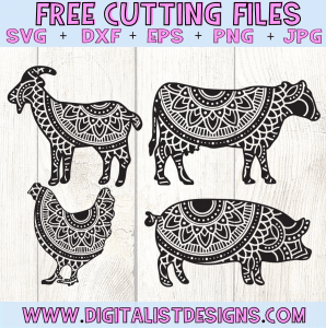 Free Mandala Farm Animals SVG files! Includes a mandala goat, mandala chicken, mandala cow, and mandala pig SVG. This would be amazing for a variety of DIY Farm craft projects such as: HTV T-shirts, mugs, home decor, scrapbooking, stickers, planners, and more! Cricut Design Space and Silhouette Studio compatible. Free vector clip art printables.
