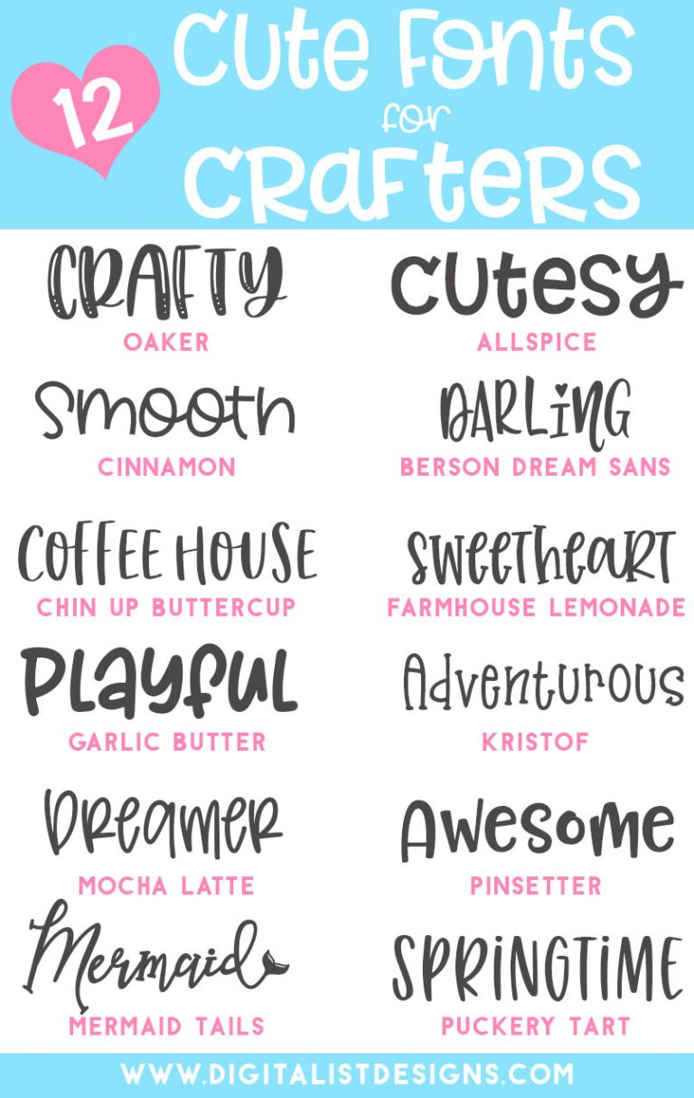 Cute Fonts for Crafters font list