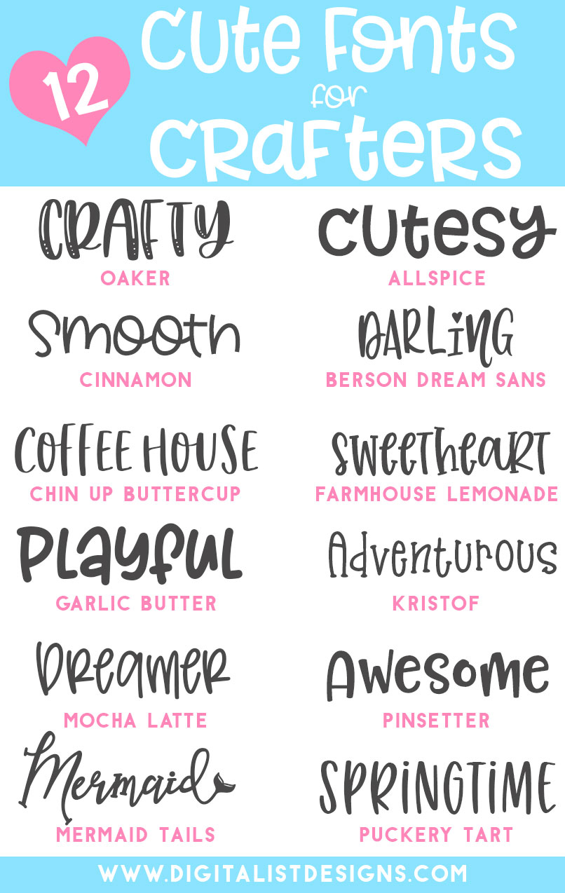 Looking for cute fonts for craft projects? These smooth, easy to cut fonts are amazing for Cricut and Silhouette. This cute font list is full of crafter favorites that are sure to keep your designs looking stylish and professional. #fonts #crafts #cute #diy