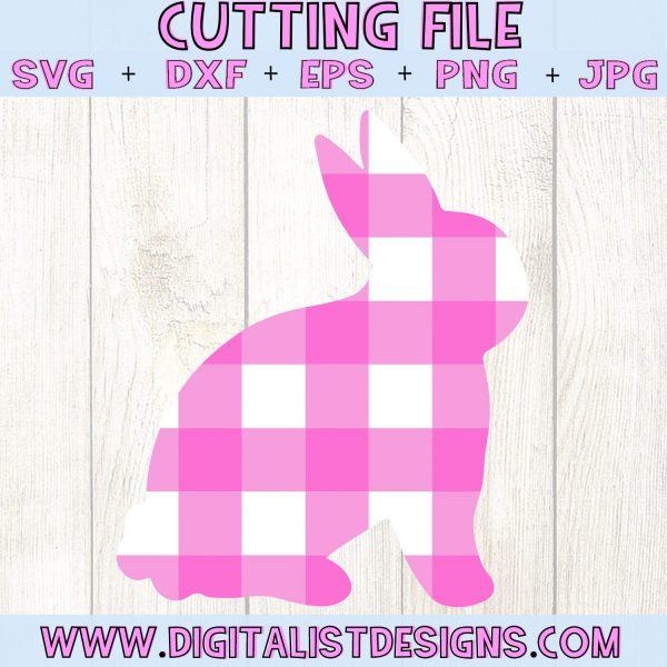 Plaid Bunny SVG cut file! This would be amazing for a variety of DIY Easter craft projects such as: HTV T-shirts, mugs, home decor, scrapbooking, stickers, planners, and more! Cricut Design Space and Silhouette Studio compatible. Vector clip art printable.