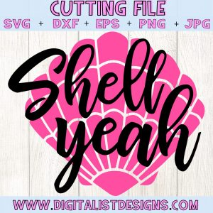 Shell Yeah SVG cut file! This would be amazing for a variety of DIY Summer craft projects such as: HTV T-shirts, mugs, home decor, scrapbooking, stickers, planners, and more! Cricut Design Space and Silhouette Studio compatible. Vector clip art printable.
