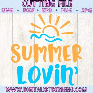 Summer Lovin' SVG cut file! This would be amazing for a variety of DIY Summer craft projects such as: HTV T-shirts, mugs, home decor, scrapbooking, stickers, planners, and more! Cricut Design Space and Silhouette Studio compatible. Vector clip art printable.
